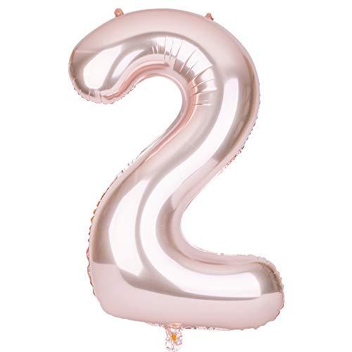SMARCY Palloncino Gonfiabile Numero 2 Palloncini Compleanno 2 Anni Decorazioni Compleanno Bimbo Oro Rosa