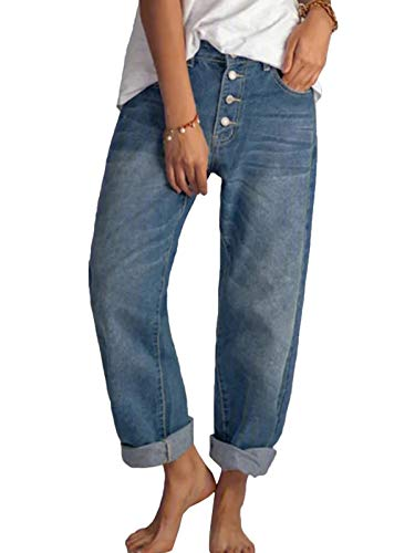 Tomwell Jeans Donna Pantaloni Larghi a Vita Alta Pantaloni Donna in Denim Jeans Stile di Strada Eleganti Vintage Casuale Denim Pants Blu L