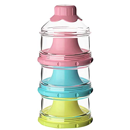 Koochie-Koo 3 Layer Plastic Food & Milk Powder Container Individual Compartments Multifunctional Multi Storage Snack, Fruit Dispenser Box for New Born Toddler Kids (Pack of 1, Multicolor)