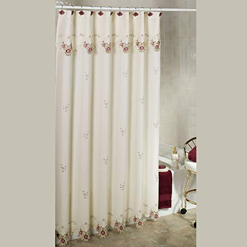 White shower curtain with pink flowers and green vines