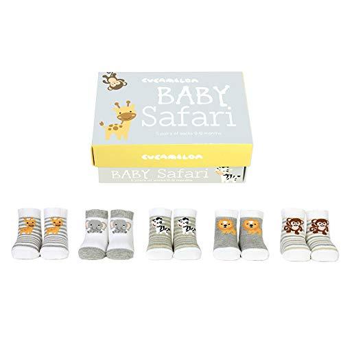 trendaffe Baby Safari Cucamelon Socken für Babys (5 Paar) - Zootiere Cucamelon Strumpf