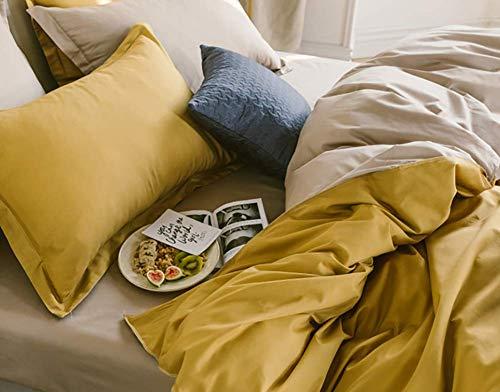 Omela Bettwäsche 135x200 Gelb Taupe Kuschelig Weich Microfaser Unifarben Wende Bettwäsche Set 2 teilig - 135 x 200 cm Bettbezug + 80 x 80 cm Kissenbezug