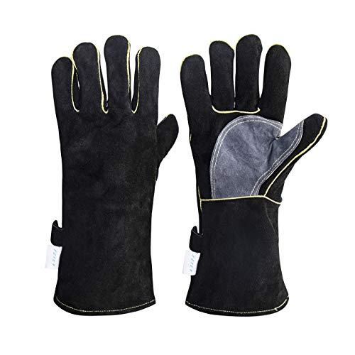 FZTEY Extreme Heat&Fire Resistant Gloves Welding Work Gloves (14Inc, Black)
