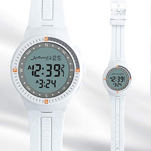Azan Sport Armbanduhr Mit Weltweiter Gebetszeit Qibla Kompass Für Islamisch-muslimische Freunde, Ramadan Geschenk Für Männer Und Frauen (Weiß)