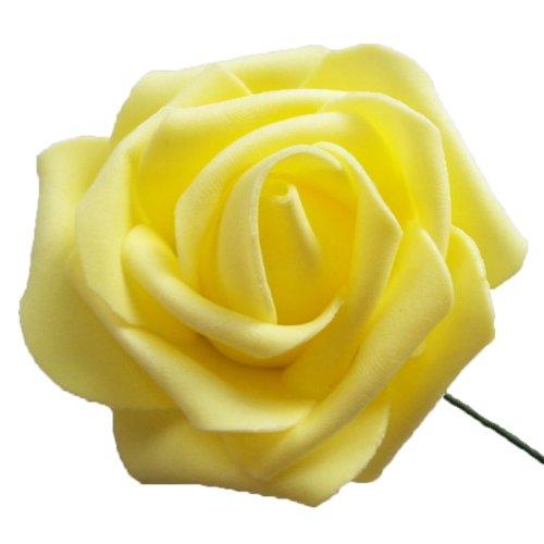 Eyourlife 50x Kunstrose Kunstblumen Rosenblüten künstlicher Rosen Hochzeit Party Deko gelb