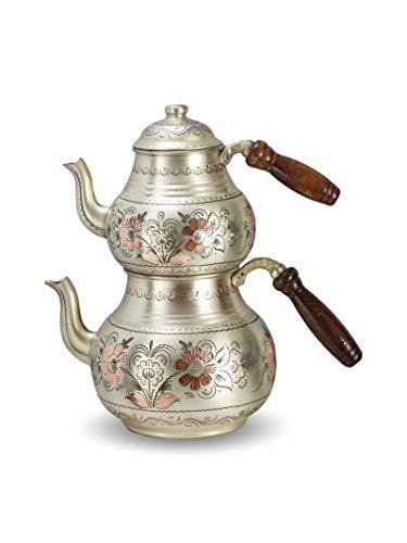 Fatto a mano a doppia parete, manico in legno nero, rosa, fiore in argento, teiera in rame turco