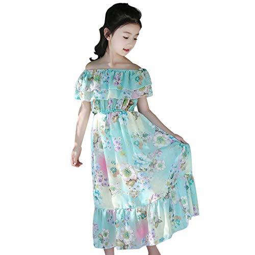 Livoral Kleider für Mädchen Böhmischer Rock Kinder Kurzarm Blumenrüschen Schmetterling Schulter Schulter Kleid großen Kinderrock(Hellblau,140)