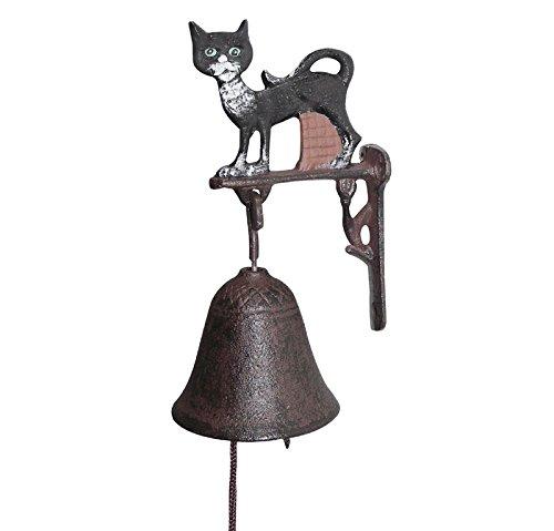 zeitzone Türglocke Katze Gusseisen Glocke Nostalgie Landhausstil Antik-Stil Braun