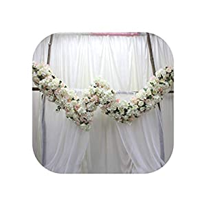 Heart-To-Heart Private Party Wedding Backdrop Arch Decor W Shape Flower Row+Artificial Table Flower Runner+Flower Ball Centerpieces,W Shape Flower Wall