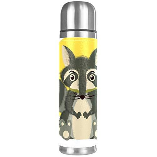 Xingruyun Cartoon Tier Waschbär Thermoskanne Tasse Edelstahl 500ml Vakuum Isolierflasche Kaffeetasse Wasserkocher Reise Tragbare Tasse Abdeckung 26x6.7cm