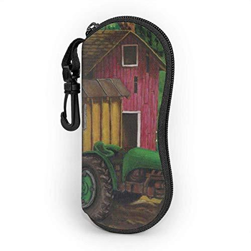 IUBBKI Traktor auf dem Bauernhof Brillenetui für Frauen und Männer, tragbare Sonnenbrille Soft Case mit Karabiner