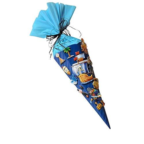 Schultüte Bastelset Pirat - Zuckertüte - aus 3D Wellpappe, 68cm hoch, mit XXL 3D Stickern