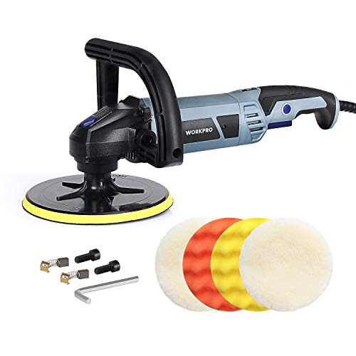 WORKPRO Buffer Polisher - 7-inch Buffer Waxer with 4 Buffing and Polishing Pads, 6 Variable Speed 1000-3800 RPM, Detachable Handle, Ideal for Car Sanding, Polishing, Waxing, Sealing Glaze