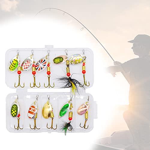 sylbx Artificial baitSet Esche da Pesca 10 Pezzi Artificiali Pesca Esche Cucchiaini Pesca Esche Artificiali Spinning Trota, per Pesca in Acqua Salata, Trota, Pesce Persico, Esche Luccio