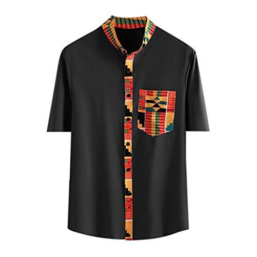 Yowablo Hemden Shirts Herren Hawaiihemd Kurzarm Freizeit Hemd Button Down Shirt Top Männer Vintage Bedruckte Stehkragen Tasche Bedruckte Kurzarm (3XL,Schwarz)