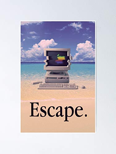 MCTEL Vaporwave Macintosh Poster 12x16 Inch Frame Board for Office Decor, Best Gift Dad Mom Grandmother and Your Friends