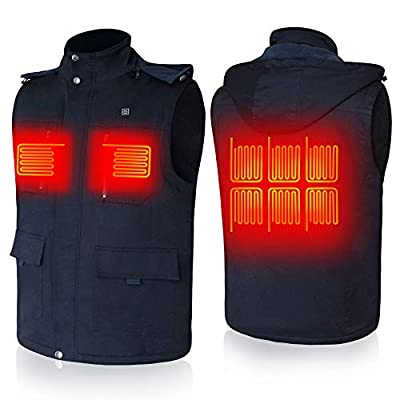 Rechargeable Electric Heated Vest Temperature Adjustable Heating Clothes with Battery Pack for Men and Women Navy