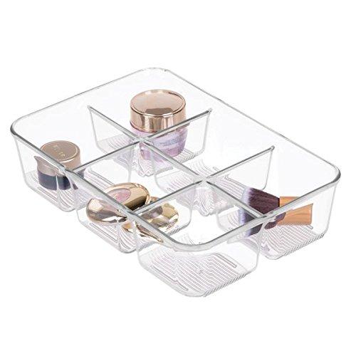 mDesign Kosmetik Organizer - transparente Aufbewahrungsbox mit sechs Fächern - Ablage aus robustem Kunststoff - durchsichtig
