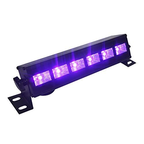 UV Led Bar, Eleganted UV Led Strahler Disco Lichteffekt 6 LEDs x 3W Schwarzlicht UV Led Licht für Parteien Bühne Disko DJ Verein Halloween Beleuchtung (6Leds x 3W)