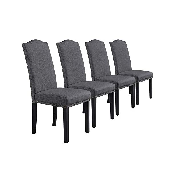 Yaheetech 4pcs Dining Chairs Fabric Parson Chairs with Rubber Wood Legs and Upholstered...