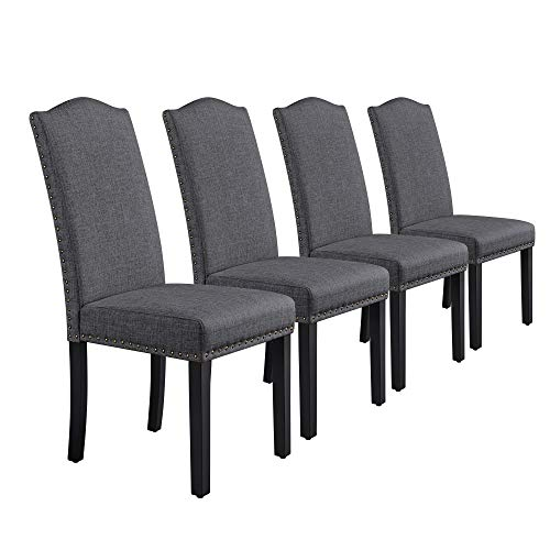 Yaheetech Dining Chairs with Rubber Wood Legs Fabric Upholstered Armless Chairs for Kitchen Dining Room Living Room Hotel Weeding Lounge Reception, Set of 4, Dark Gray