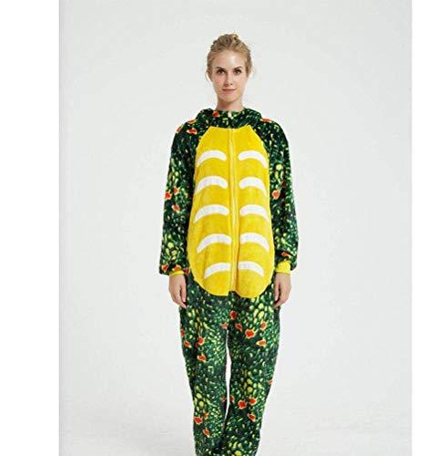 Unisex pyjama volwassen dier Onesies herfst en winter Cartoon dier mannen en vrouwen pyjama flanel paar lange nachtjapon, JUSTTIME L Groen