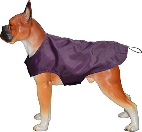 Fitness Freak Milan - Abrigo impermeable para perro con forro polar para exteriores, color morado XL - 45,72 cm