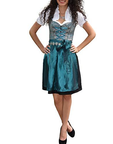 Golden Trachten-Kleid Dirndl Damen 3 TLG, Midi für Oktoberfest, mit Schürze und Bluse 485GT,Grün,36