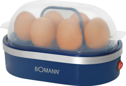 Eierkoker voor 6 eieren met 400 watt (maatbeker, eipicker, anti-aanbaklaag, zoemer, controlelampje, blauw)