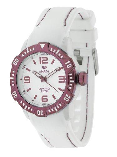 Reloj MAREA B35227/5 - Reloj Mujer WR 5 ATM con Bisel Giratorio, Caja de 40 mm y Correa Blanca de Silicona.