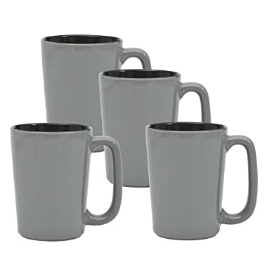 Culver SLAT Mug, 16-Ounce, Grey Black, Set of 4