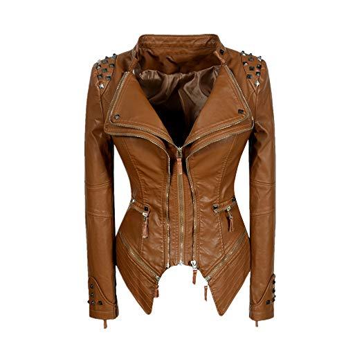 N\P Chaqueta de cuero sintético para mujer, de manga larga, delgada, con estampado de serpiente, color negro