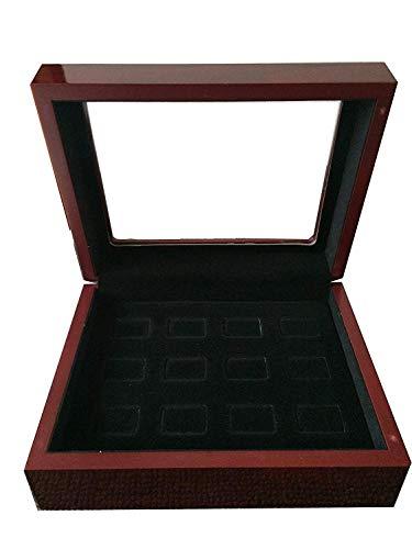 JunningGor 12 Holes Sports Championship Big Heavy Ring Display Wooden Box Black Velvet Inside