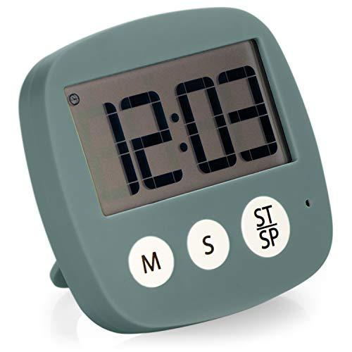 COM-FOUR® Küchentimer, digitale Eieruhr mit Magnethalterung, Küchenwecker mit Kurzzeitmesser-Stoppuhr und Alarmfunktion, praktischer Zeitmesser (rauchgrau)
