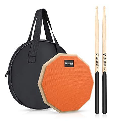 LOLUNUT 30,5 cm lautloses Schlagzeug-Pad, für Anfänger, Gummi-Übungspad, mit 5A Drumsticks 8'' Orange