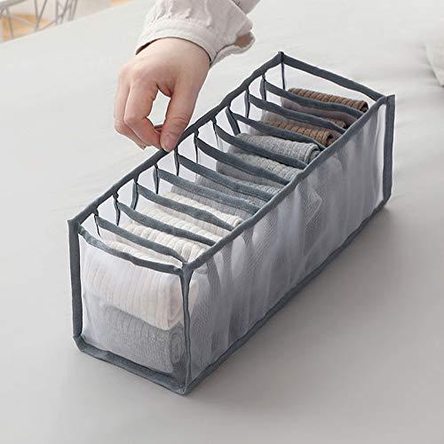 ZPTECH Drawer Organizers Underwear Storage Bag Underwear Bra Storage Box Closet Storage Artifact Socks Wardrobe Organizer Box (11 compartments) (Color : Gery grids 11)