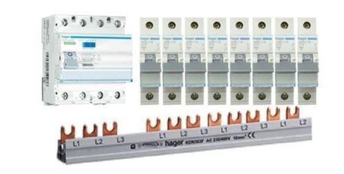 TM: Hager 1x FI CDA440D 4-polig + 8x Hager LS-Schalter MBN116 1-polig + 1x FI Sammelschiene , SET