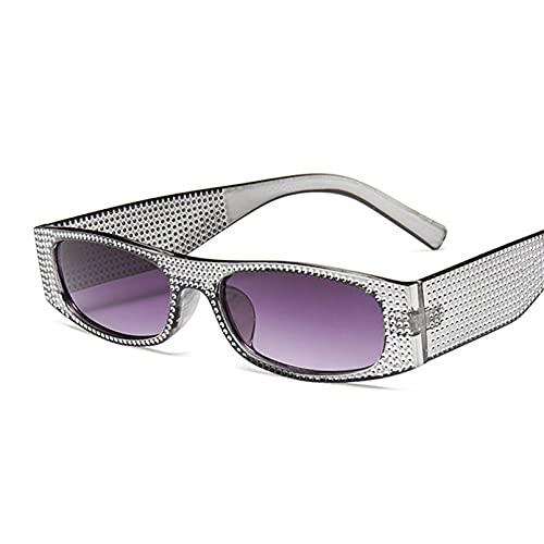 Gafas de Sol cuadradas pequeñas a la Moda para Mujer, Gafas De Sol con Diamantes de imitación, Gafas De Sol Femeninas de diseñador de Marca de Moda,Gray