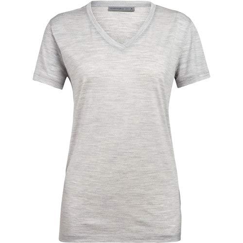 Icebreaker Ravyn T-Shirt Manches Courtes à col en V Femme, Blizzard Heather Modèle S 2020 Tshirt Manches Courtes