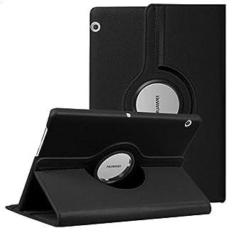 حافظة حماية جلدية دوارة لجهاز هواوي ميديا باد تي 5 10.1 لون اسود