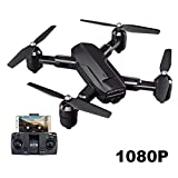 FzJs-J-in RC Drones avec caméra HD 1080P/4K 5G Wifi GPS Positionnement Une clé Décoller/atterrissage Pliable Quadcopter, Noir , 1080P