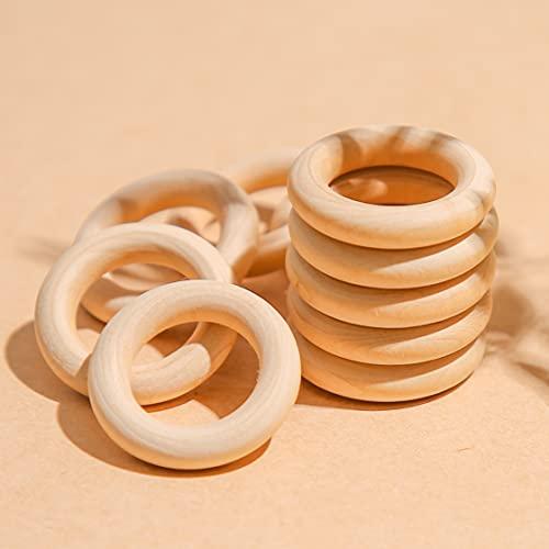 Mamimami Home Baby Teether Holz Teether Ringe Runde - 1.6 Zoll Kleine unfertige Holzringe für DIY Baby Teether Spielzeug