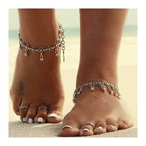 CQHUI Tobina de la Cadena de Plata para Las Mujeres Fashion Summer Beach Jewelry Gifts Foot Cadena Adecuada para Sandalias a Juego (Metal Color : Style G)