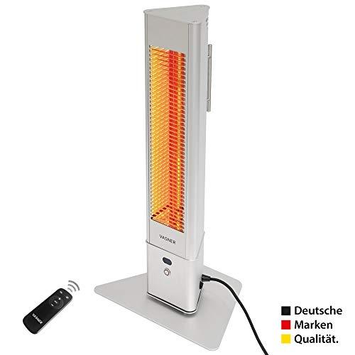 VASNER HeatTower Mini Standheizstrahler Infrarotstrahler 1500 W, elektrisch, Außenbereich, Terrasse, Standfuß, silber