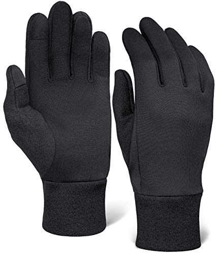 Running Glove Liners - Thermal Black Winter Gloves for Men & Women - Thin, Lightweight & Warm Cold Weather Gloves for Cycling, Driving, Outdoor Sports - 90% Polyester 10% Spandex Reinforced Blend