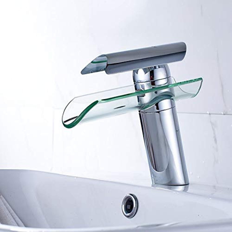 ZHFJGKR&ZL Spültischarmatur Bad Becken Wasserhahn Wasserfall Auslauf Glas Messing Chrom Nickel Gebürstet Kalt- Und Warmwassermischer Waschtischarmaturen