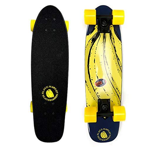 hdfhhsasaoi Fisch Skateboard Mini Retro Board 7 Lagen Kanadisches Ahornholz Bananen Skateboard Single-Warp Skateboard