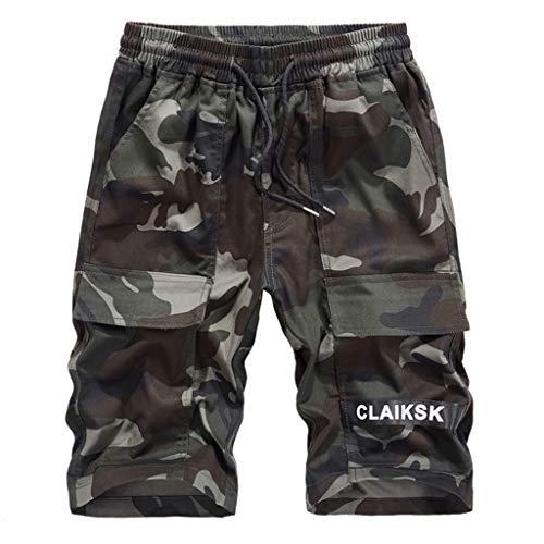Shorts,Kurze Herren Hose Männer Sommer Sport Shorts Mode Baumwolle Casual Cargohosen Halblange Hosen Gürtel Hosen von Evansamp(Mehrfarbig,XXL)