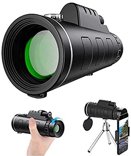 Telescopio monocular, Telescopio monocular impermeable, Resistente a la niebla con adaptador de smartphone y trípode para observación de aves, Caza, Senderismo, Turismo, Conciertos, Partidos de fútbol