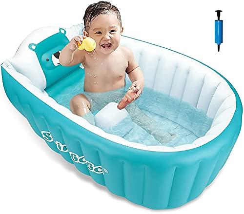MONODEAL - Vasca da bagno gonfiabile per bambini, vasca da bagno morbido, antiscivolo, pieghevole, da viaggio, spesso, per neonati, vasca da bagno, doccia, vasca da bagno per neonati (da 0 a 36 mesi)